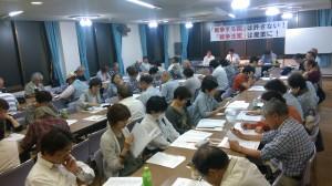 戦争法案に反対する左京の会結成に開かれた学習会で講演する大河原としたか弁護士