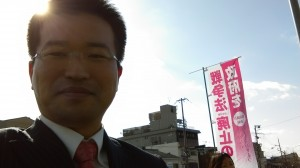 朝宣伝する冨樫豊