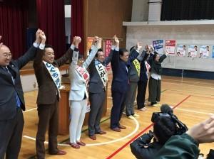 近衛中学校体育館にて2019年3月17日、府市会4予定候補揃い踏み