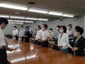 2020年8月27日、京都市危機管理監に「緊急申し入れ」を提出する日本共産党京都市議団